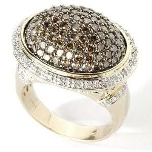 14K Gold 1.15ct Chocolate & White Diamond Dome Ring Jewelry