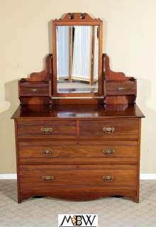 Antique English Walnut 6 Drawer Vanity Chest Dresser w/ Mirror