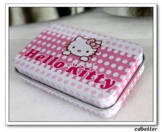 NEW Hello Kitty Iron Metal Portable Travel Contact Lens Case Box Set