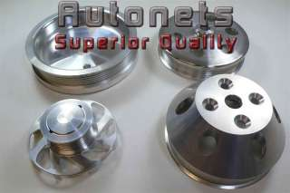 Stain Aluminum Small Block Chevy Short Water Pump Serpentine pulleys