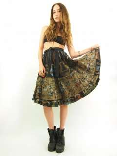 Blk HAND PAINTED Mexican METALLIC Floral Full Circle Skirt S/M