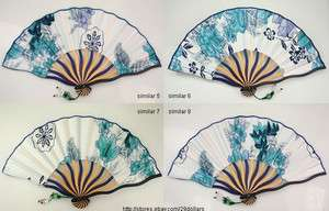 Ladies Hand Fan Pretty Folding Fans Vintage Design Bamboo & Silk Bead