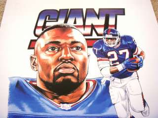 RODNEY HAMPTON SIGNED NY GIANTS LITHOGRAPH ~PSA/DNA
