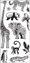 Inkadinkado DAY AT THE ZOO Clear Stamps giraff elephant