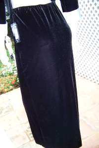 ELEGANT BLACK VELVET/WHITE SATIN TOP/SPLIT SKIRT TUXEDO L NWT