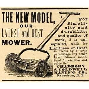 1890 Ad Chadborn Coldwell Push Lawn Care Mower Newburgh