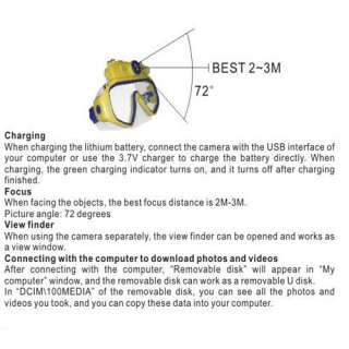 MP CMOS LCD Underwater Digital DV Camera Diving Mask LED Flash