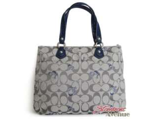 NWT Coach Poppy Grey Blue Signature Logo Glam Tote Handbag 18711