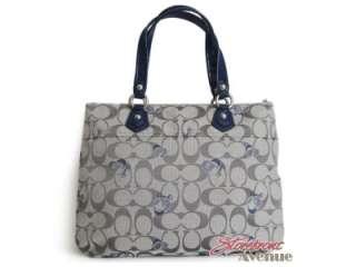 NWT Coach Poppy Grey Blue Signature Logo Glam Tote Handbag 18711