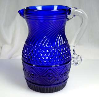 Vintage Pilgrim Cobalt Blue Glass Bennington Pitcher
