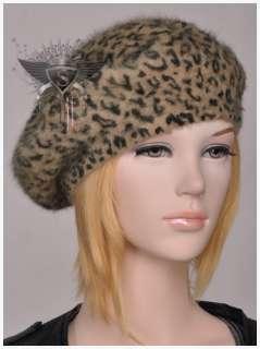 Punk Fashion Leopard Rabbit Fur Beret Hat Cap Comfortable Lady Pretty