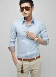 Mens New Stylish Slim Fit Casual Dress Shirt Handsome 4 Colors H003