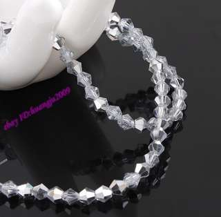 720pc 4mm Clear Half Silver Plate Crystal Bicone Beads1