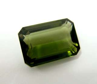 46ct SEDUCTIVE AAA Natural Czech Moldavite Emerald Cut Hot