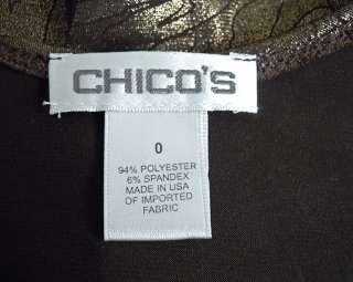 Chicos Brown Copper Metallic Leopard Print Tank Top Sz 0 XS