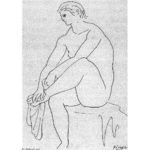 Pablo Picasso   32 x 46 inches   Bañista sentada secándose los pies