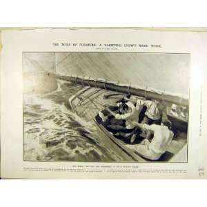 1906 Yachting Crew Mainsheet Yacht Race Sailing Print