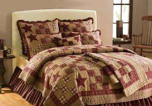 COUNTRY PRIMITIVE STAR PATCH RUSTIC BURGUNDY TAN 5 PIECE KING QUILT