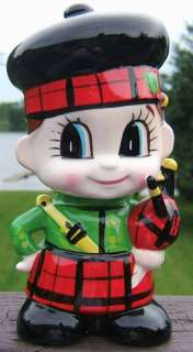 Vintage Scottish Boy with Bagpipe Ceramic Bank JAPAN
