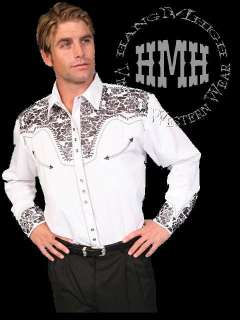 634 Scully Western Cowboy Embroidered Shirt Gun Fighter Med Pewter