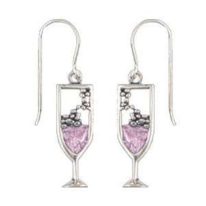 Sterling Silver Crystal Pink Champagne Glass Charm