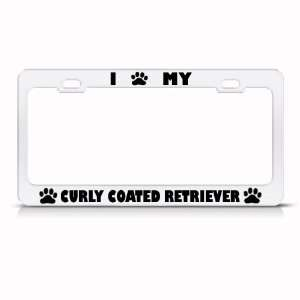 Curly Coated Retriever Dog White Metal License Plate Frame