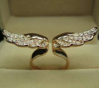 Angel Wing Rose GOLD GF Ring Swarovski Crystal SZ6 R217