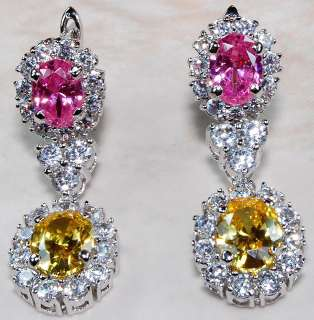 Pink Sapphire Yellow & White Topaz 925 Sterling Silver Earrings 1.25