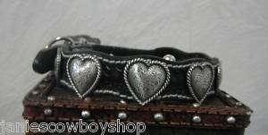 Custom Western Cowgirl Dog Collar Black Heart Concho 22