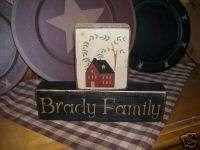 PRIMITIVE BLOCK SIGN ~CUSTOM~FAMILY NAME~~WILLOW TREE