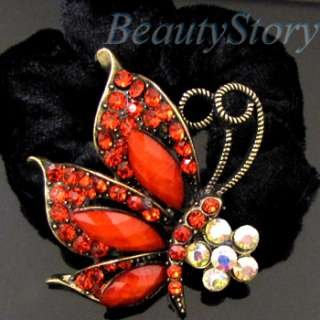 ADDL Item  rhinestone crystals butterfly hair scrunchie