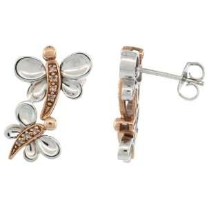 Sterling Silver / 14k Rose Gold Double Dragonfly Earrings w/ Brilliant
