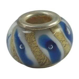 Glass Silver Foil European Beads Fit Pandora Blue and Gold Bands, 14mm