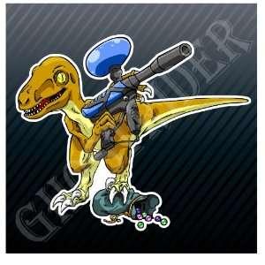 Paintball Dinosaur with Gun Sport Car Sticker Decal
