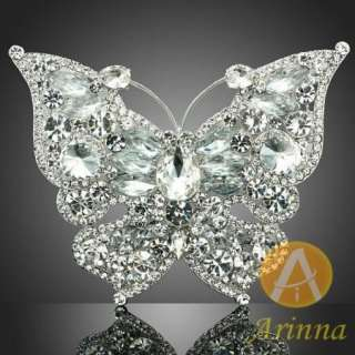 ARINNA clear butterfly pure breast brooch pin white gold GP Swarovski