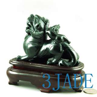 Natural Nephrite Jade Carving 2 Divine Animal Pixiu Statues