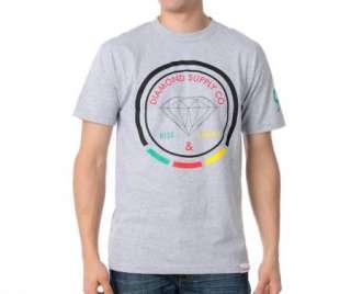 Diamond Supply Co. Grey Red Yellow Green Black T shirt Rise & Shine