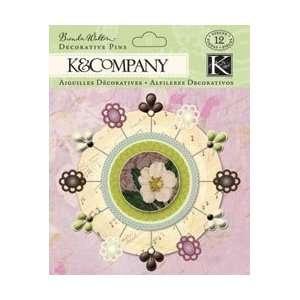 K & Company Flora & Fauna Decorative Pins 12/Pkg; 3 Items