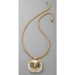 NEW Anthropologie White OWL Pendant NECKLACE with GOLD Tone Chain