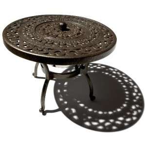 DECORATIVE OUTDOOR PATIO DECK ALUMINUM ROUND SIDE TABLE