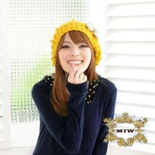 New Women Girls Very Cute Thermal Knit Cap Hat Beanie with Pom & Bow
