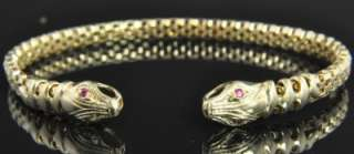 14K Yellow Gold Natural Double Ruby Snake Serpent Head Mesh Cuff
