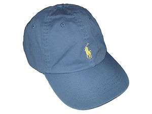 Polo Ralph Lauren Blue Yellow Pony Leather Strap Ball Cap Hat