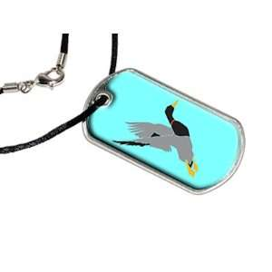 Duck Hunter Hunting   Military Dog Tag Black Satin Cord