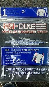 DRI DUKE CREW NECK Stretch Long Sleeve Form Fit Black Shirt *NEW IN