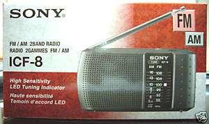 NEW*** SONY ICF 8 Portable 2 Band AM FM Radio Black