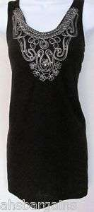 RXB Beaded/Sequined Racerback Tank Top Black/White NWT