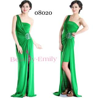 Sexy Grecian Style One Shoulder Green Evening Dresses Long Prom Gown