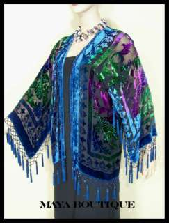 Fringe Jacket Kimono Short Hand Dyed Teal Blue Purples NEW