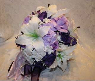 Purple Lavender Silk Flower Wedding Bridal Bouquet Package Bridesmaids